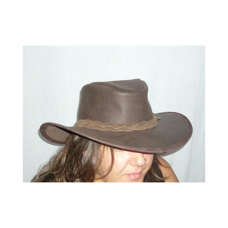 Sombrero Australiano piel marrón - El Taller de la Rosa