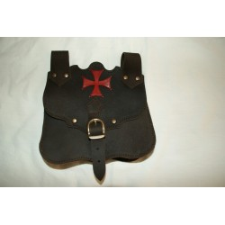 Bolsa marrón Templaria cruz Roja